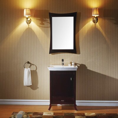 Summer Grove 24 Single Bathroom Vanity Set with Ceramic Top and Mirror Base Finish: Espresso