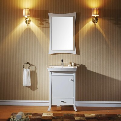 Summer Grove 24 Single Bathroom Vanity Set with Ceramic Top and Mirror Base Finish: White