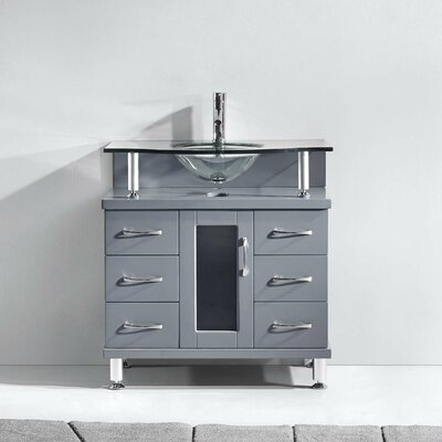 Vincente Series 32 Single Bathroom Vanity Set with Tempered Glass Top Base Finish: Gray