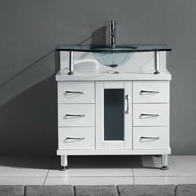 Runge 32 Single Bathroom Vanity Set with Tempered Glass Top Base Finish: White