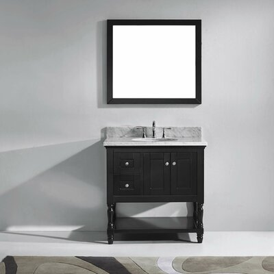 Julianna 37 Single Bathroom Vanity Set with White Marble Top and Mirror Base Finish: Espresso, Sink Shape: Round, Faucet Finish: Polished Chrome