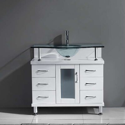 Runge 36 Single Bathroom Vanity Set with Tempered Glass Top Base Finish: White