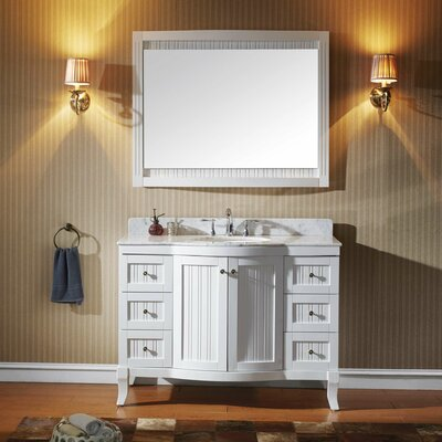 Khaleesi 48 Single Bathroom Vanity Set with White Marble Top and Mirror Base Finish: White