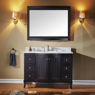 Khaleesi 48 Single Bathroom Vanity Set with White Marble Top and Mirror Base Finish: Espresso
