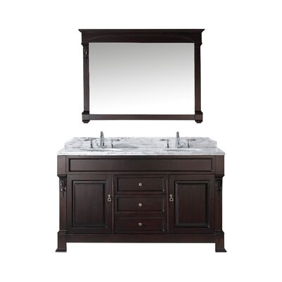Huntshire 59 Double Bathroom Vanity Set with Mirror Base Finish: Dark Walnut, Sink Shape: Round, Faucet Finish: No Faucet