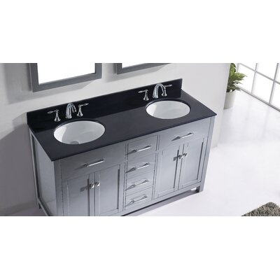 Templeton 60 Double Bathroom Vanity Set with Black Galaxy Top and Mirror Base Finish: Gray, Sink Shape: Round