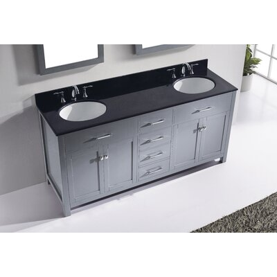 Templeton 71.9 Double Bathroom Vanity Set with Black Top and Mirror Base Finish: Gray, Sink Shape: Round