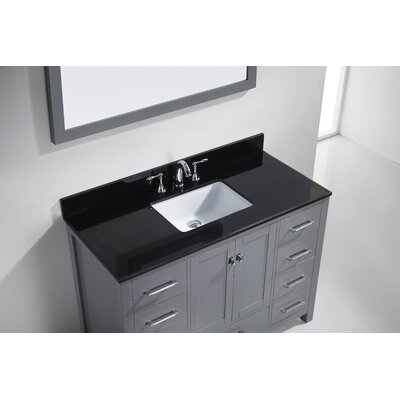 Melba 49 Single Bathroom Vanity Set with Black Galaxy Top and Mirror Base Finish: Gray, Sink Shape: Square