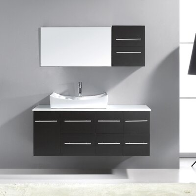 Ultra Modern 53 Single Bathroom Vanity Set with White Stone Top and Mirror Base Finish: Gray, Faucet Finish: Brushed Nickel