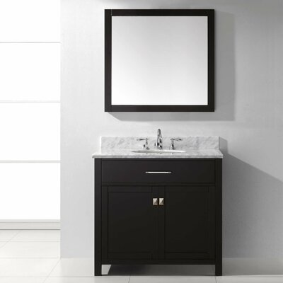 Templeton 36 Single Bathroom Vanity Set with White Marble Top and Mirror Base Finish: Espresso, Sink Shape: Square, Faucet Finish: No Faucet