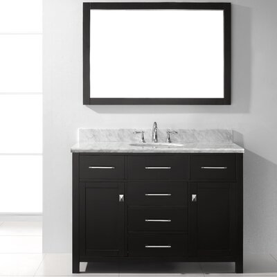 Templeton 48 Single Bathroom Vanity Set with Mirror Base Finish: White, Faucet Finish: Brushed Nickel, Sink Shape: Square