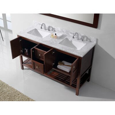 Bob 60 Double Bathroom Vanity Set with White Top and Mirror Base Finish: Cherry, Sink Shape: Square, Faucet Finish: No Faucet