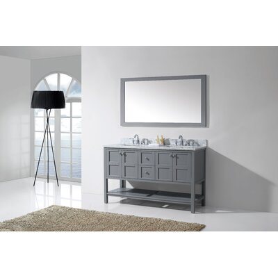 Bob 60 Double Bathroom Vanity Set with White Top and Mirror Base Finish: Gray, Sink Shape: Square, Faucet Finish: No Faucet
