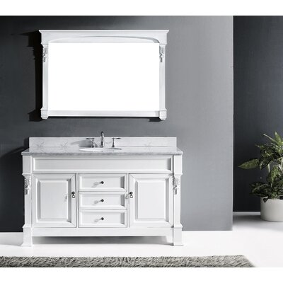 Huntshire 60 Single Bathroom Vanity Set with White Marble Top and Mirror Base Finish: White, Sink Shape: Square, Faucet Finish: Polished Chrome