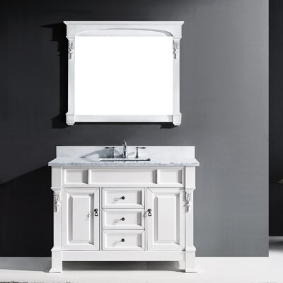 Huntshire 47 Single Bathroom Vanity Set with White Marble Top and Mirror Base Finish: White, Sink Shape: Round, Faucet Finish: No Faucet