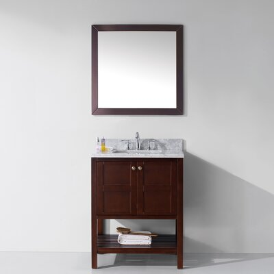 Knupp 30 Single Bathroom Vanity Set with Mirror Base Finish: Cherry, Sink Shape: Square