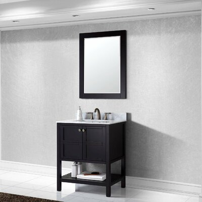 Winterfell 30 Single Bathroom Vanity Set with White Marble Top and Mirror Base Finish: Espresso, Sink Shape: Square