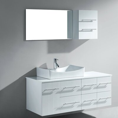 Decastro 53 Single Bathroom Vanity Set with White Stone Top and Mirror Base Finish: White, Faucet Finish: Polished Chrome