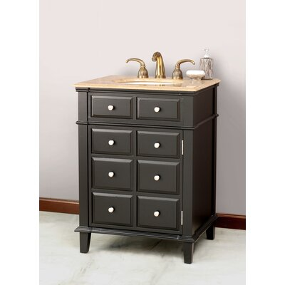 Windsor Single 26 Bathroom Vanity in Black Vanity Top Finish: Travertine