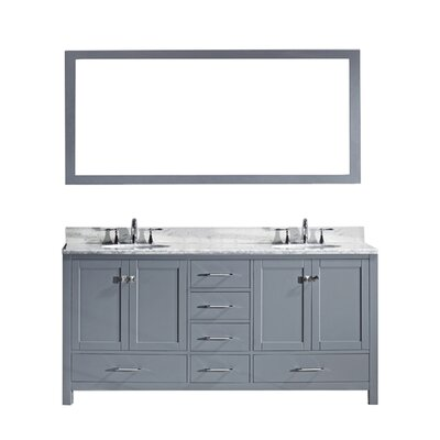 Stoneham 72.8 Double Bathroom Vanity Set with Carrara White Top and Mirror Sink Shape: Round, Base Finish: Gray, Faucet Finish: No Faucet