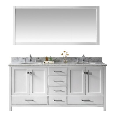 Stoneham 72.8 Double Bathroom Vanity Set with Carrara White Top and Mirror Base Finish: White, Sink Shape: Round, Faucet Finish: No Faucet
