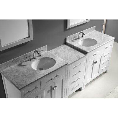 Espen 92.8 Double Bathroom Vanity Set with Carrara White Top and Mirror Base Finish: Gray, Sink Shape: Round, Faucet Finish: No Faucet