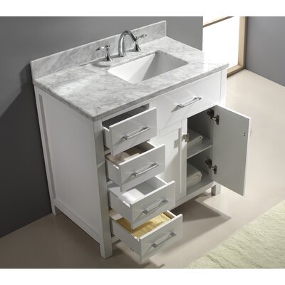 Espen 37 Single Bathroom Vanity Set with Mirror Base Finish: White, Faucet Finish: No Faucet