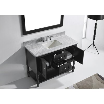 Julianna 49 Single Bathroom Vanity Set with White Marble Top and Mirror Base Finish: Espresso, Sink Shape: Square, Faucet Finish: No Faucet