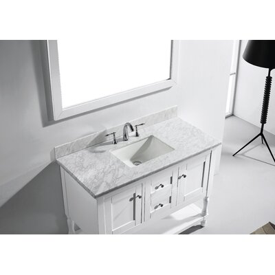 Julianna 49 Single Bathroom Vanity Set with White Marble Top and Mirror Base Finish: White, Sink Shape: Square, Faucet Finish: Polished Chrome