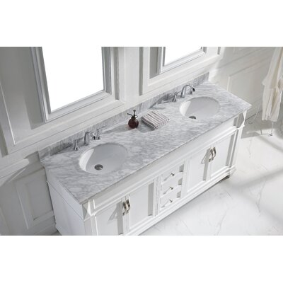 Victoria 72 Double Bathroom Vanity Set with White Marble Top and Mirror Base Finish: White, Sink Shape: Round, Faucet Finish: Brushed Nickel