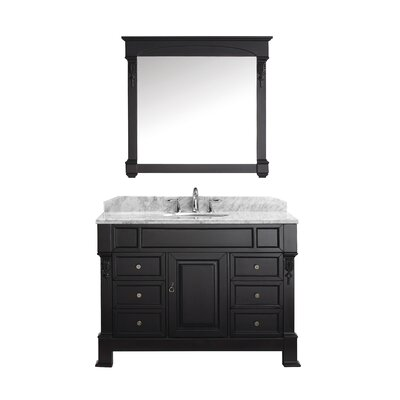 Huntshire Manor 47 Single Bathroom Vanity Set with White Marble Top and Mirror Base Finish: White, Sink Shape: Round, Faucet Finish: Brushed Nickel