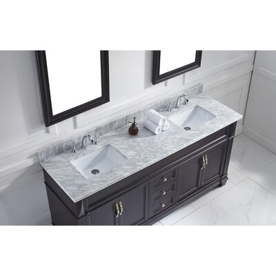 Victoria 72 Double Bathroom Vanity Set with White Marble Top and Mirror Base Finish: Espresso, Sink Shape: Square, Faucet Finish: No Faucet