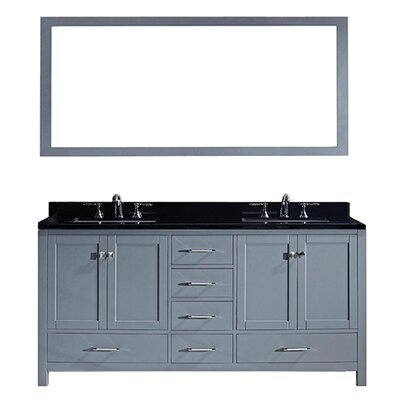 Melba 73 Double Bathroom Vanity Set with Black Galaxy Top and Mirror Base Finish: Gray, Sink Shape: Square
