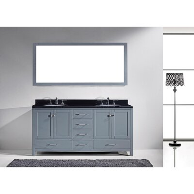 Melba 73 Double Bathroom Vanity Set with Black Galaxy Top and Mirror Base Finish: Gray, Sink Shape: Round