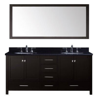 Stoneham 73 Double Bathroom Vanity Set with Black Galaxy Top and Mirror Base Finish: Espresso, Sink Shape: Round