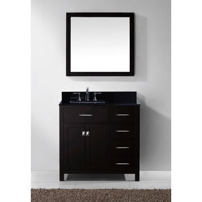 Stoughton 36.9 Single Bathroom Vanity Set with Black Galaxy Top and Mirror Base Finish: Espresso