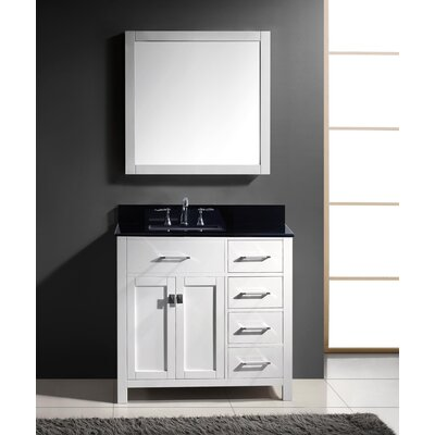 Stoughton 36.9 Single Bathroom Vanity Set with Black Galaxy Top and Mirror Base Finish: White