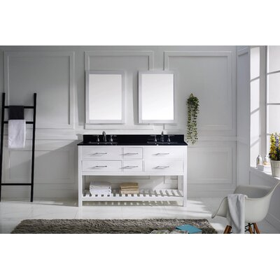 Rishaan 61 Double Bathroom Vanity Set with Black Galaxy Top and Mirror Base Finish: White, Sink Shape: Round