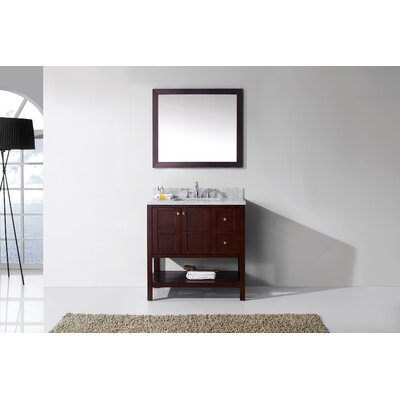 Templeton 36 Single Bathroom Vanity Set with Carrara White Top and Mirror