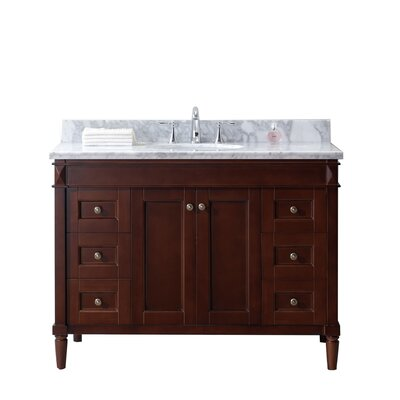 Tiffany 48 Single Bathroom Vanity Set with White Marble Top Base Finish: Cherry, Sink Shape: Round
