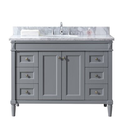Tiffany 48 Single Bathroom Vanity Set with White Marble Top Base Finish: Gray, Sink Shape: Round