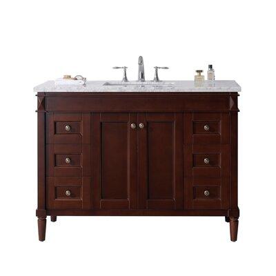 Tiffany 48 Single Bathroom Vanity Set with White Marble Top Base Finish: Cherry, Sink Shape: Square