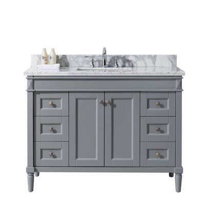 Tiffany 48 Single Bathroom Vanity Set with White Marble Top Base Finish: Gray, Sink Shape: Square