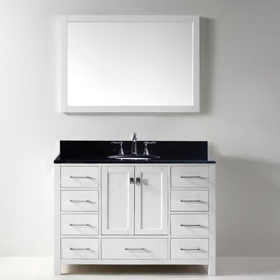 Stoneham 49 Single Bathroom Vanity Set with Black Galaxy Top and Mirror Base Finish: White, Sink Shape: Round