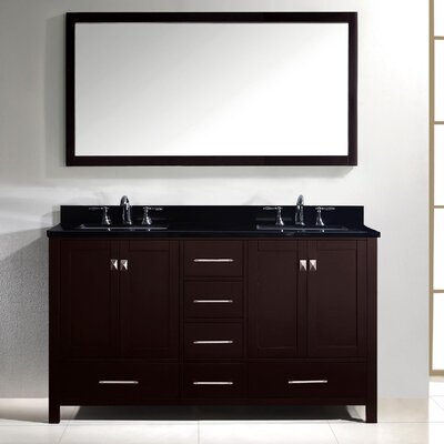 Stoneham 60 Double Bathroom Vanity Set with Black Galaxy Top and Mirror Base Finish: Espresso, Sink Shape: Round
