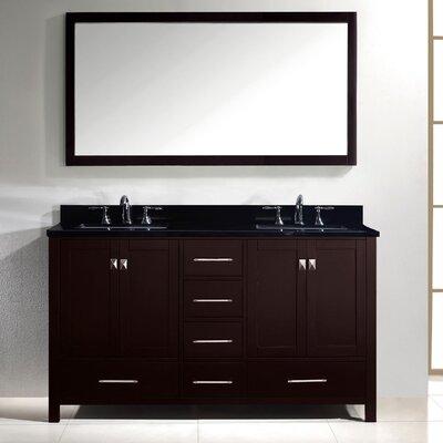 Raishon 60 Double Bathroom Vanity Set with Black Galaxy Top and Mirror Base Finish: Espresso, Sink Shape: Square