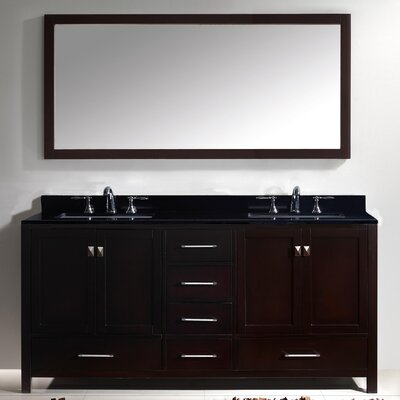 Melba 73 Double Bathroom Vanity Set with Black Galaxy Top and Mirror Base Finish: White, Sink Shape: Square