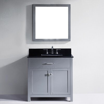 Templeton 35.8 Single Bathroom Vanity Set with Black Galaxy Top and Mirror Base Finish: Gray, Sink Shape: Square