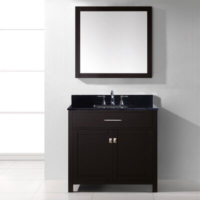 Templeton 35.8 Single Bathroom Vanity Set with Black Galaxy Top and Mirror Base Finish: Espresso, Sink Shape: Round