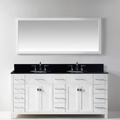 Stoughton 72 Double Bathroom Vanity Set with Black Galaxy Top and Mirror Base Finish: White, Sink Shape: Square